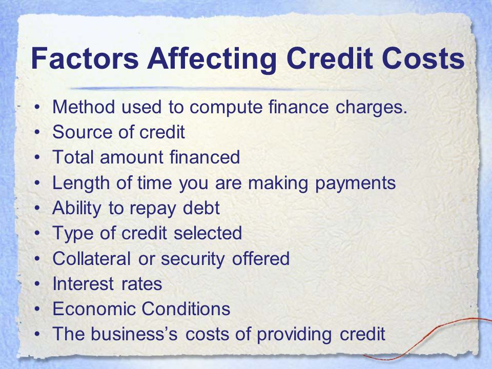 Factors Affecting Credit Costs