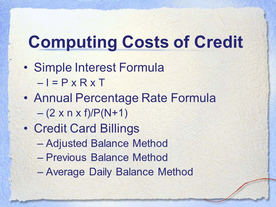 Computing Costs of Credit