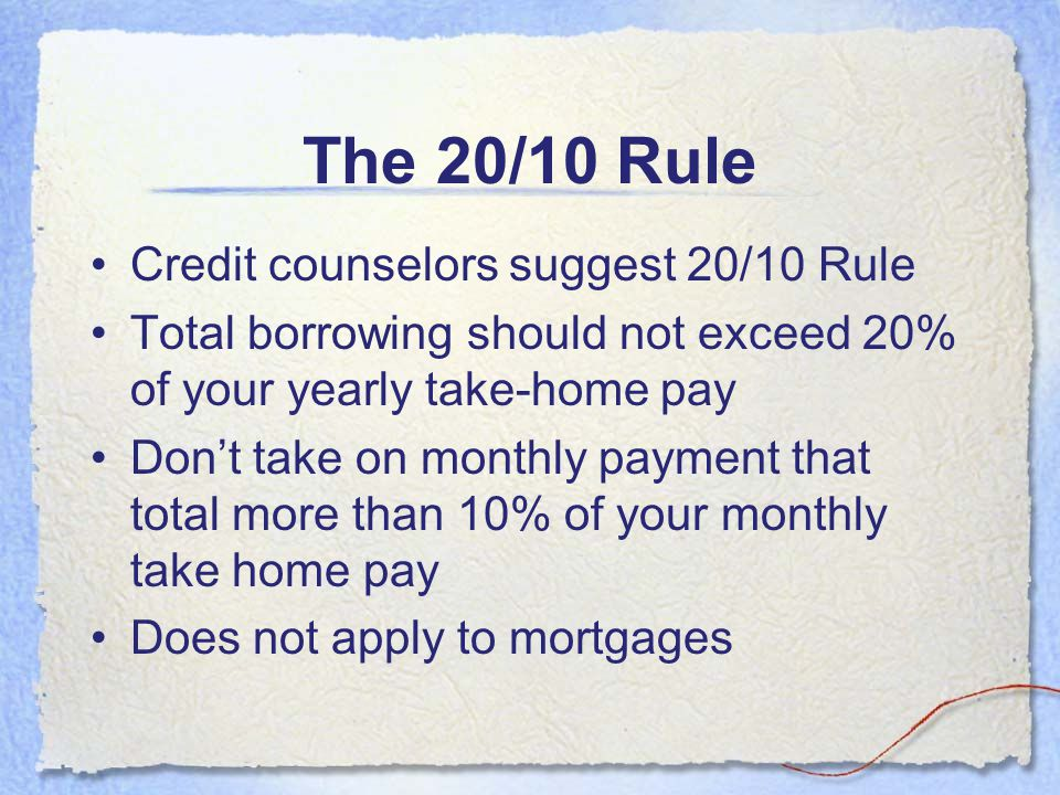 The 20/10 Rule Credit counselors suggest 20/10 Rule