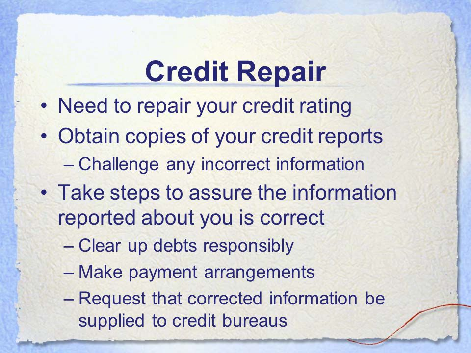 Credit Repair Need to repair your credit rating