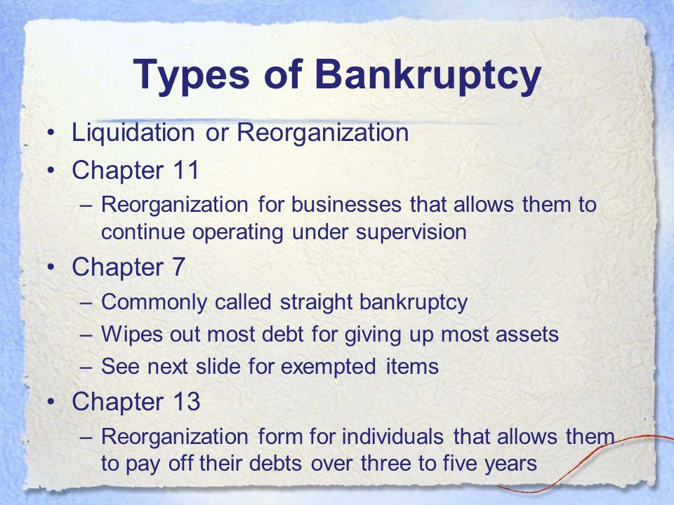 Types of Bankruptcy Liquidation or Reorganization Chapter 11 Chapter 7