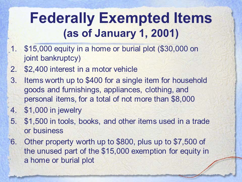 Federally Exempted Items (as of January 1, 2001)