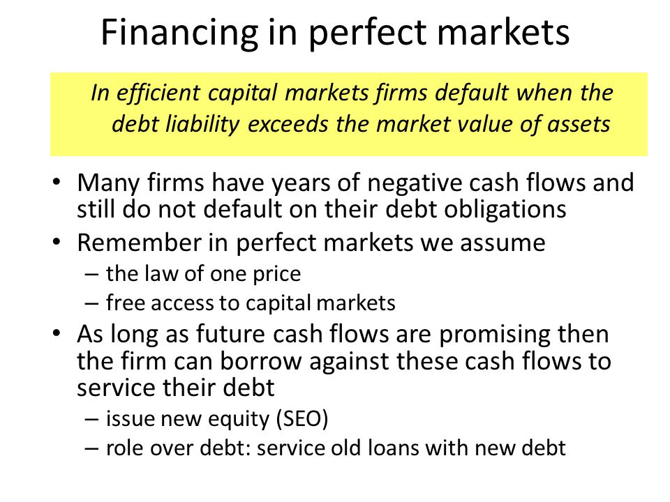 Financing in perfect markets