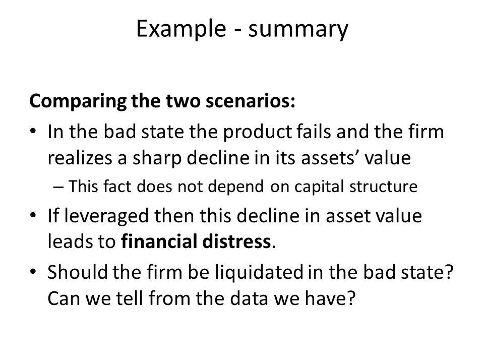 Example - summary Comparing the two scenarios: