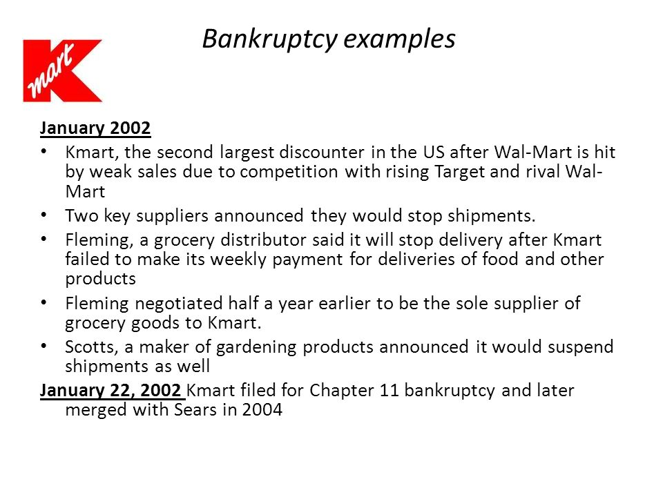 Bankruptcy examples January 2002