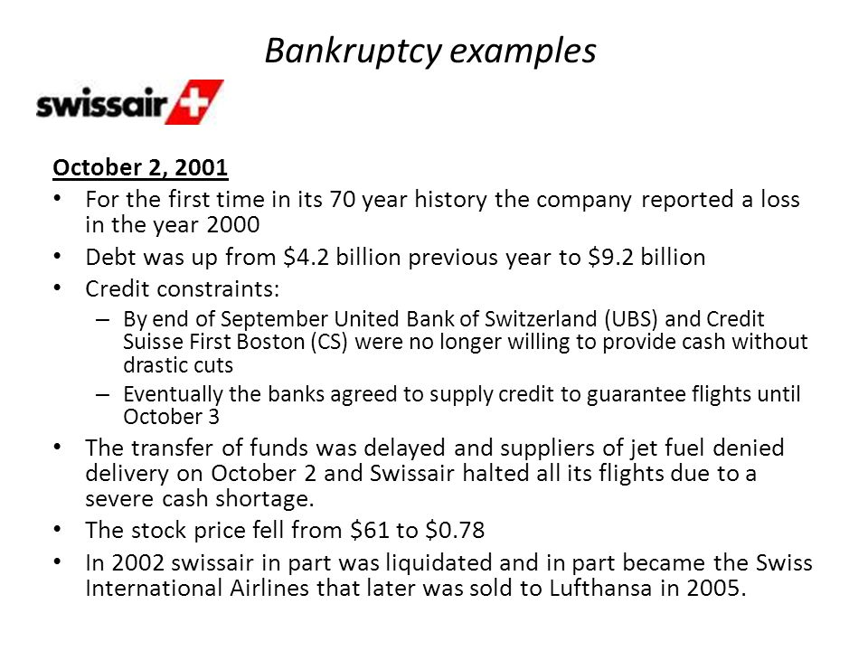 Bankruptcy examples October 2, 2001