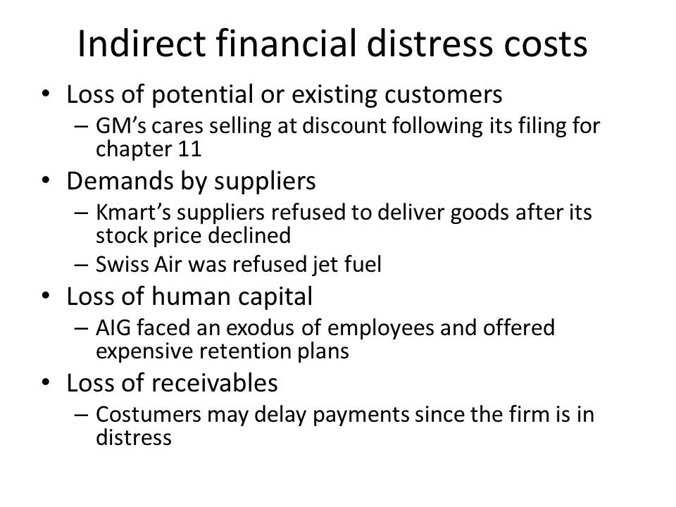 Indirect financial distress costs