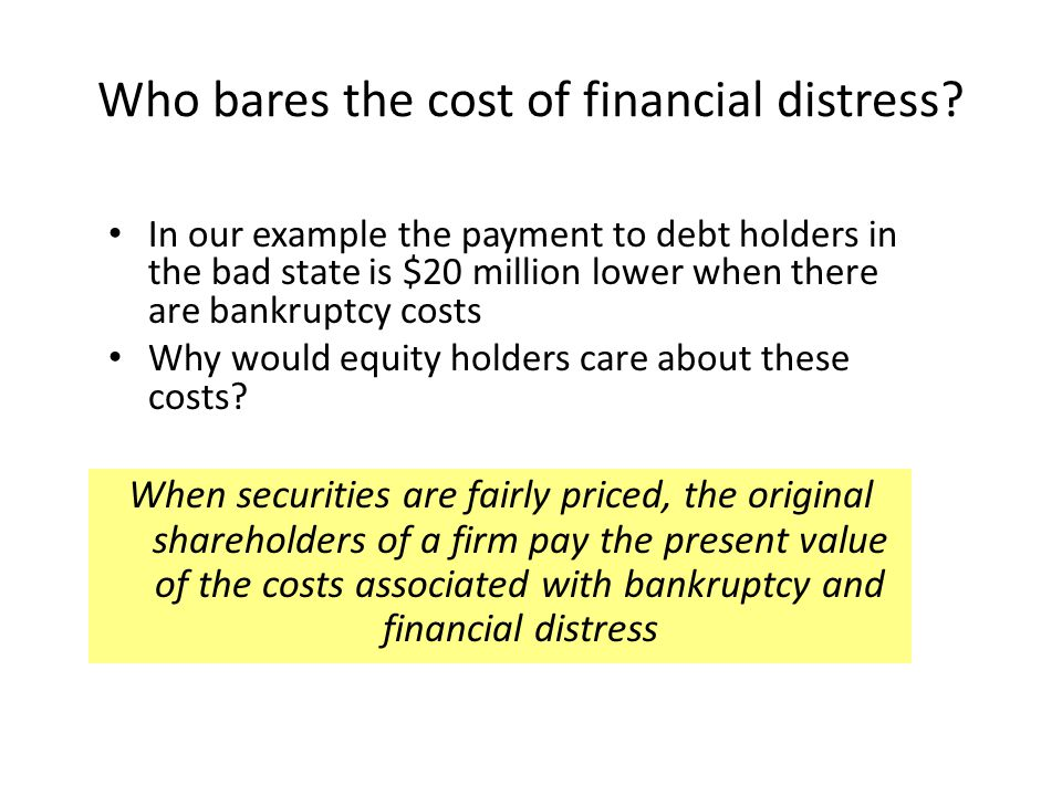 Who bares the cost of financial distress