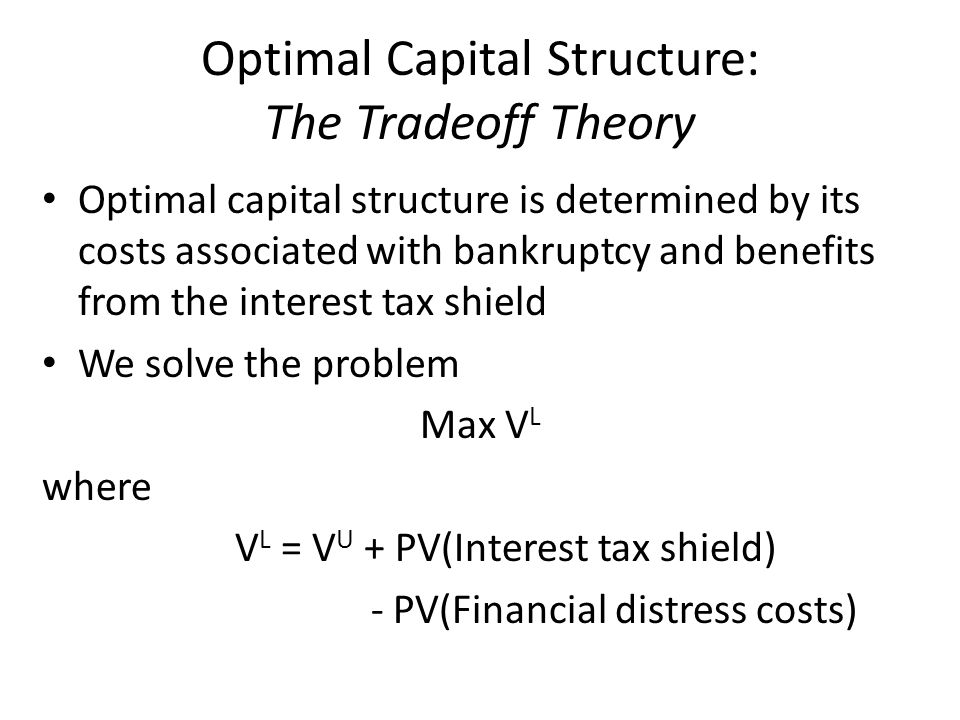 Optimal Capital Structure: The Tradeoff Theory