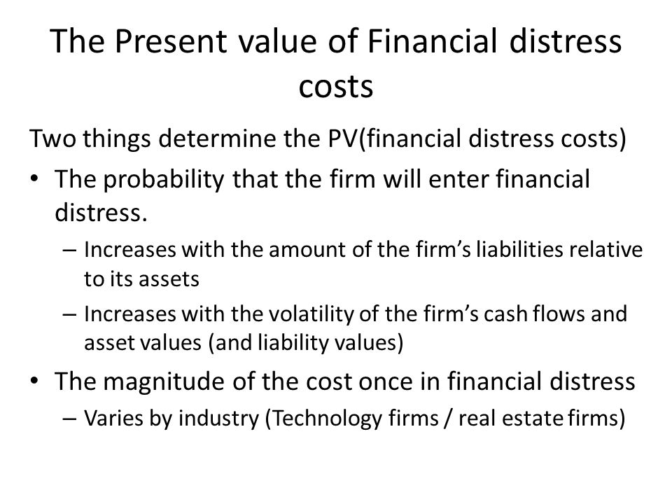 The Present value of Financial distress costs