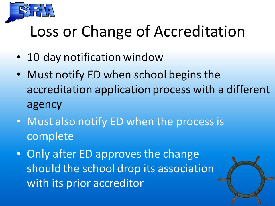 Loss or Change of Accreditation