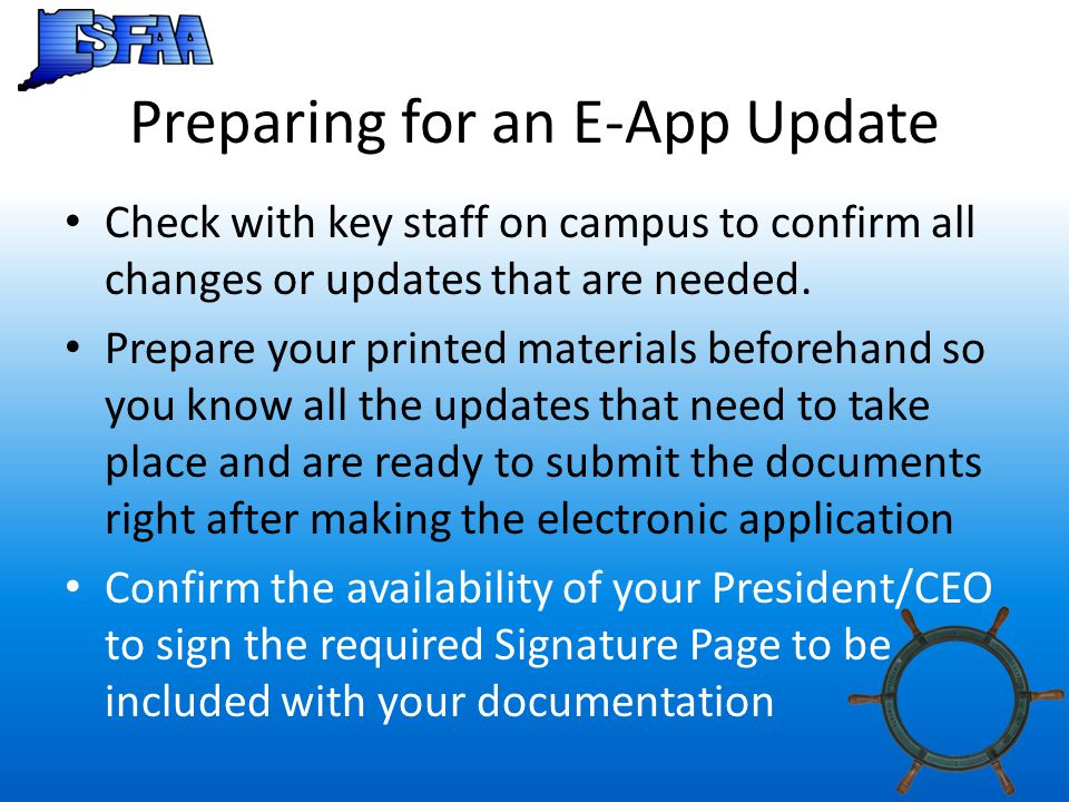 Preparing for an E-App Update