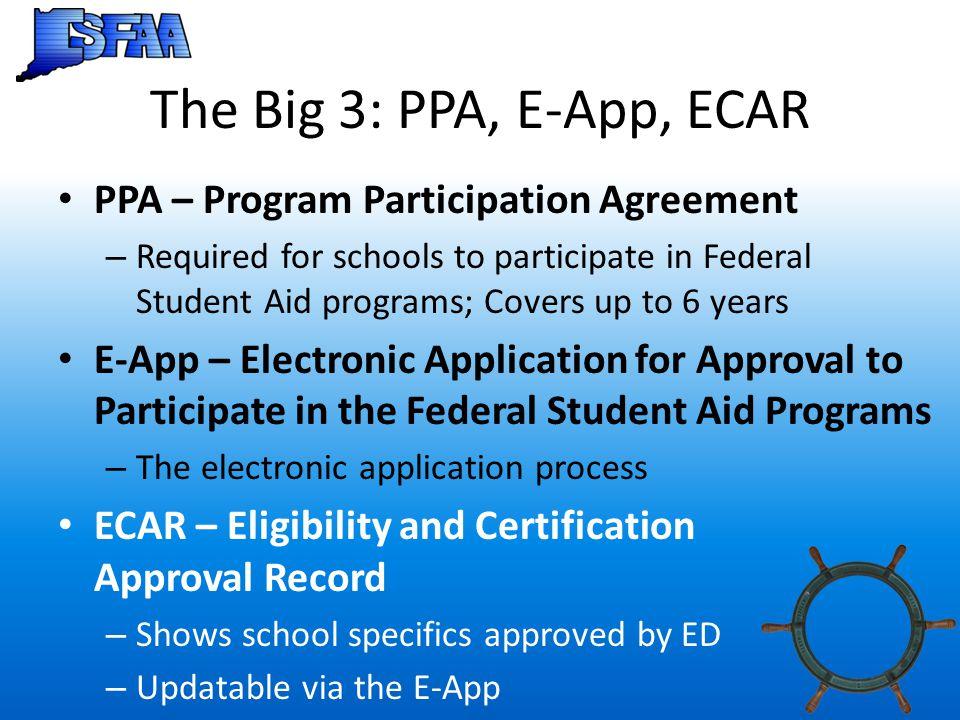 The Big 3: PPA, E-App, ECAR PPA – Program Participation Agreement