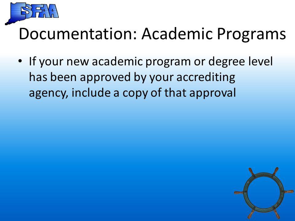 Documentation: Academic Programs