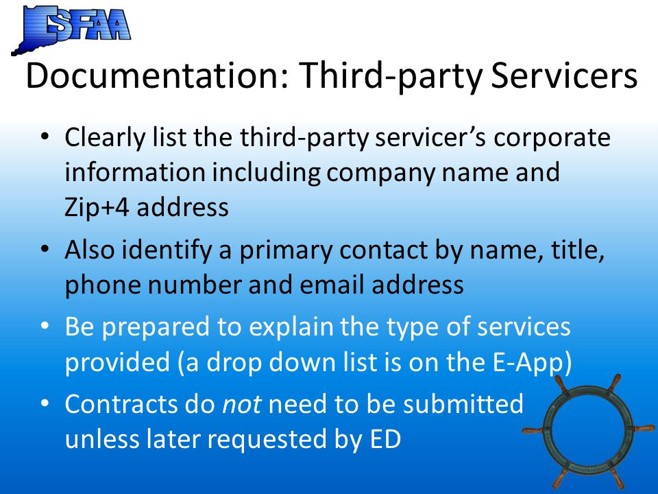 Documentation: Third-party Servicers