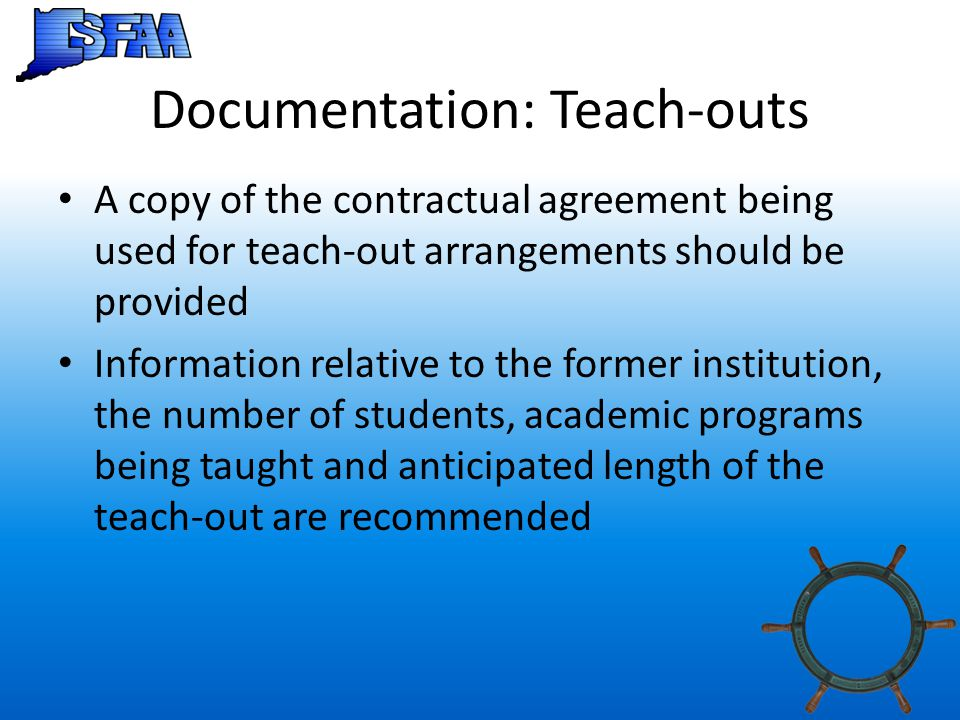 Documentation: Teach-outs