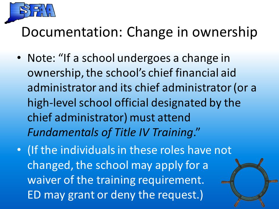 Documentation: Change in ownership