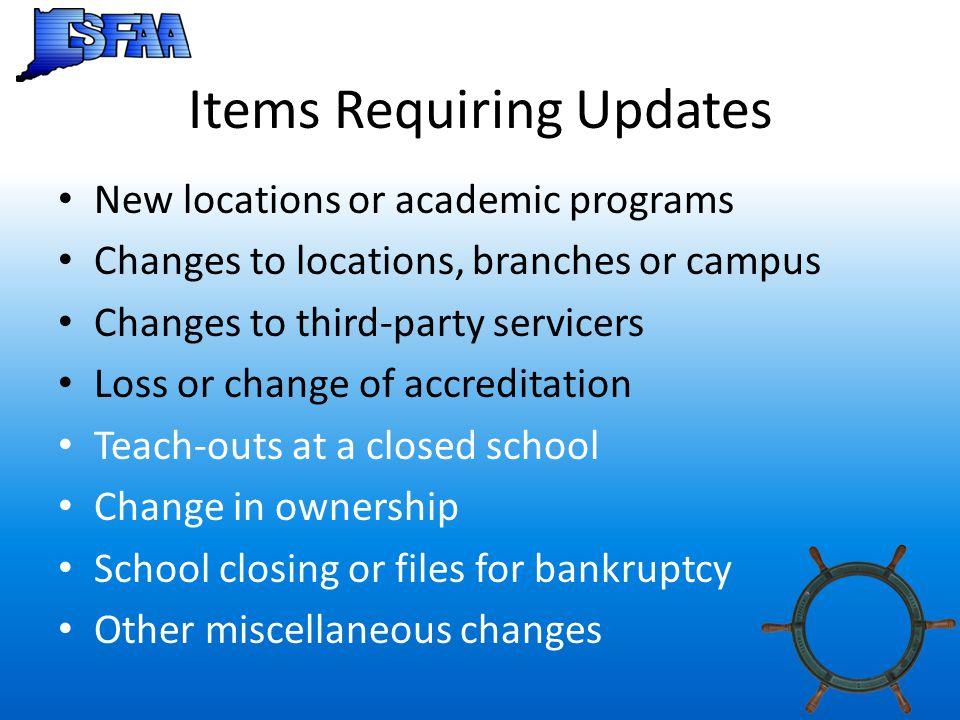 Items Requiring Updates