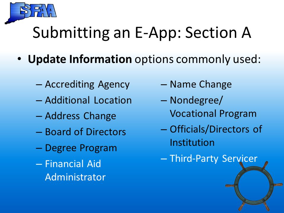 Submitting an E-App: Section A
