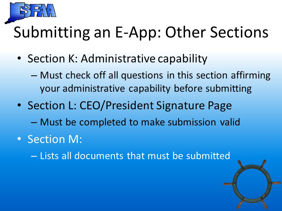 Submitting an E-App: Other Sections
