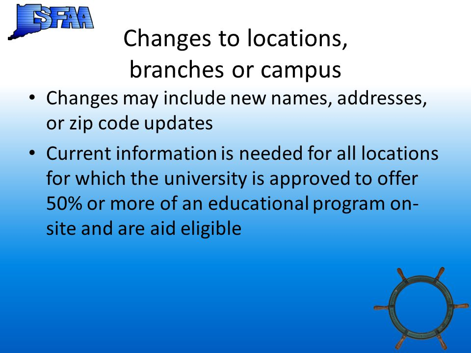 Changes to locations, branches or campus