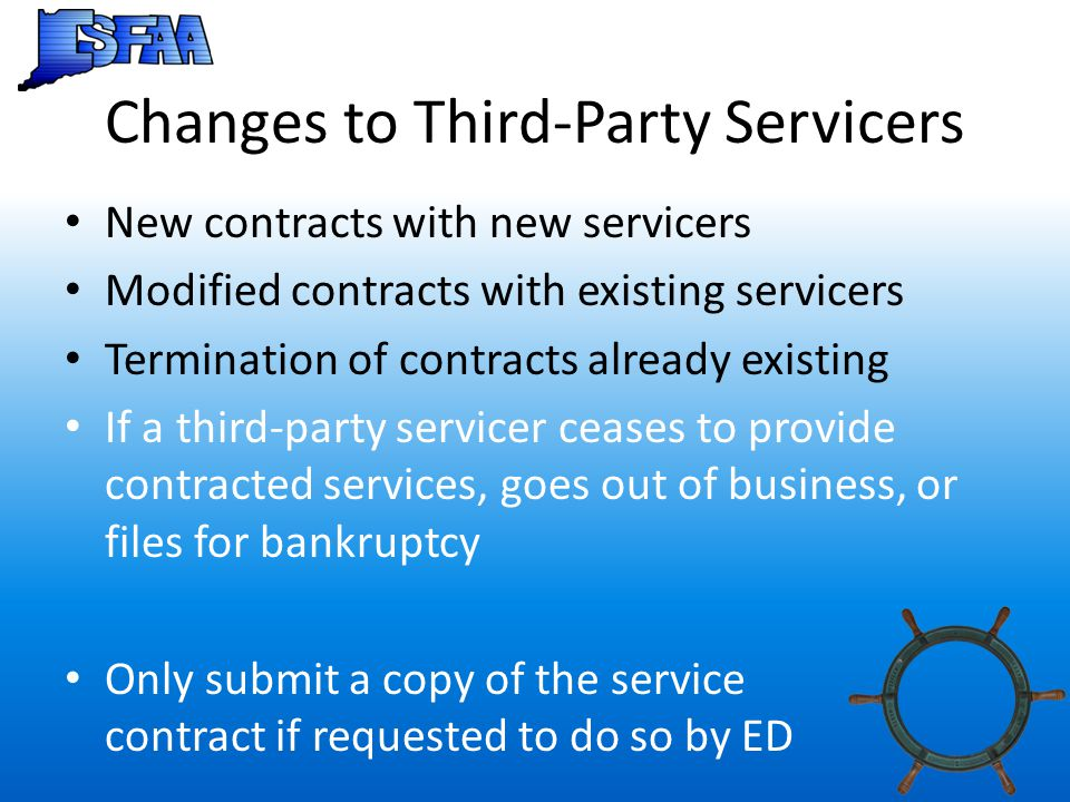 Changes to Third-Party Servicers
