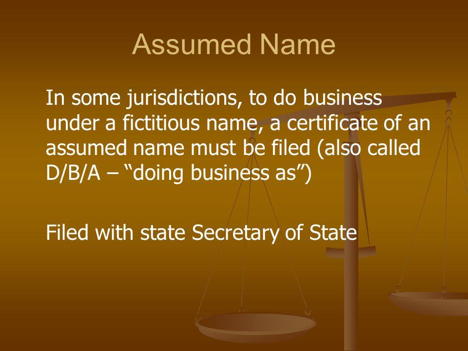 Assumed Name