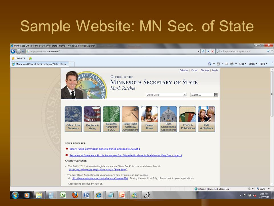 Sample Website: MN Sec. of State