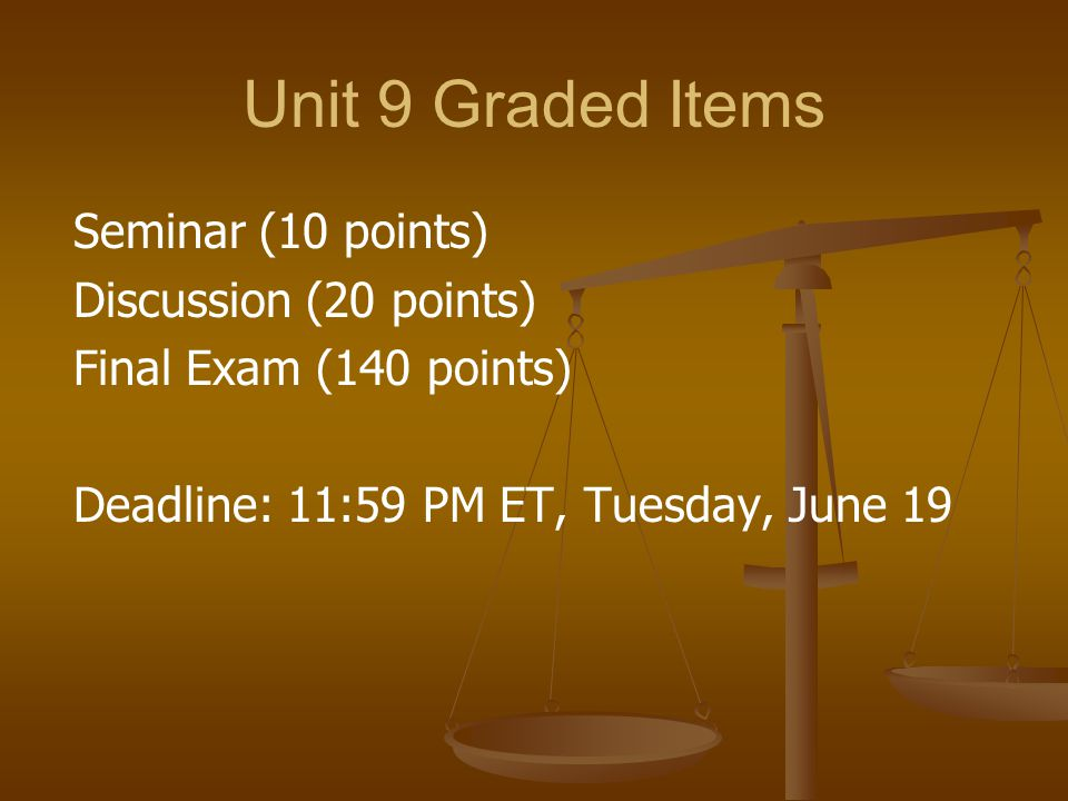 Unit 9 Graded Items Seminar (10 points) Discussion (20 points)