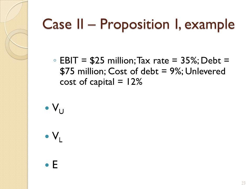 Case II – Proposition II