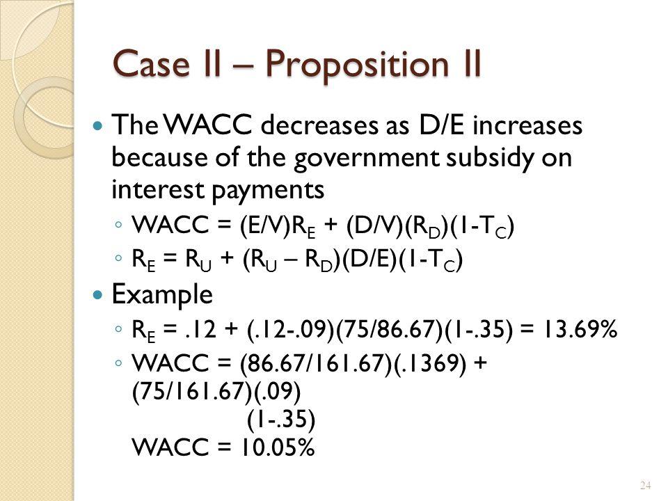 Case II – Proposition II, example