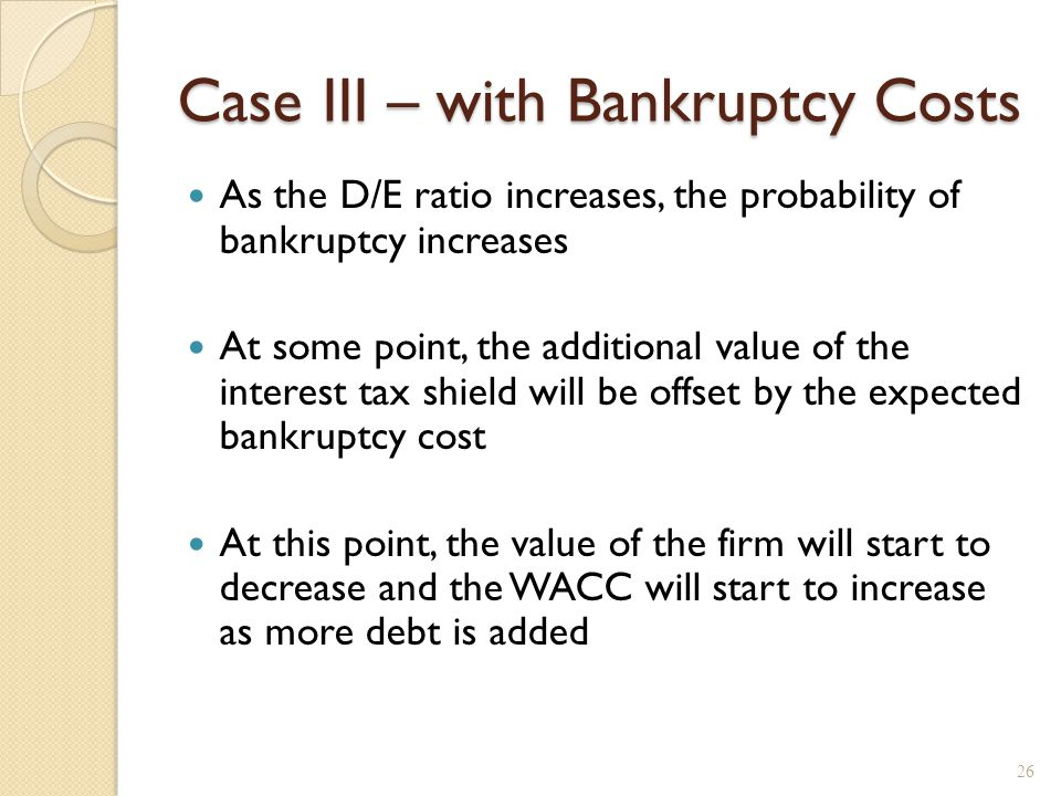 Bankruptcy Costs (Financial distress costs)
