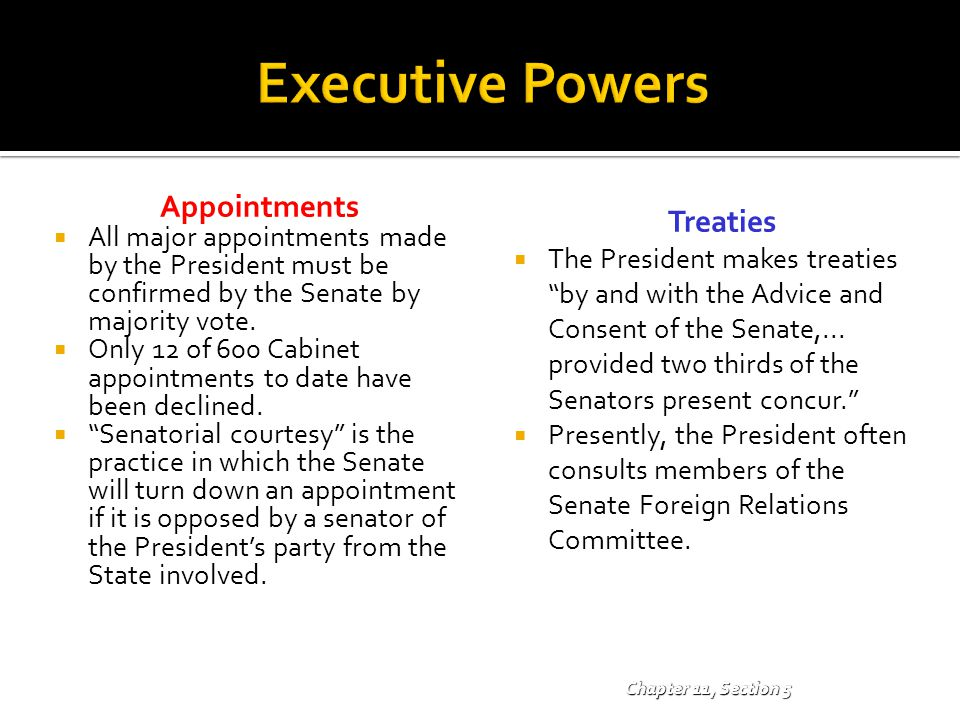 Executive Powers Appointments Treaties