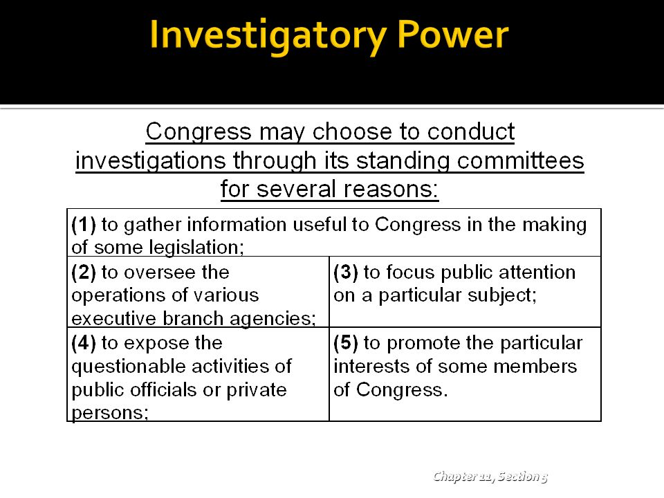 Investigatory Power Chapter 11, Section 5