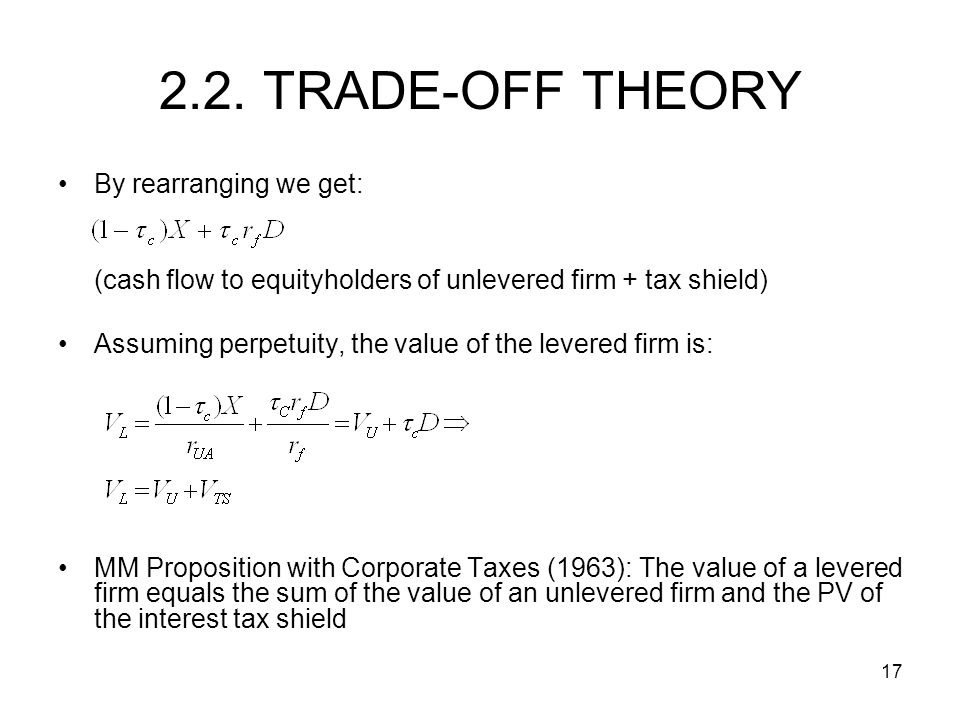 2.2. TRADE-OFF THEORY By rearranging we get: