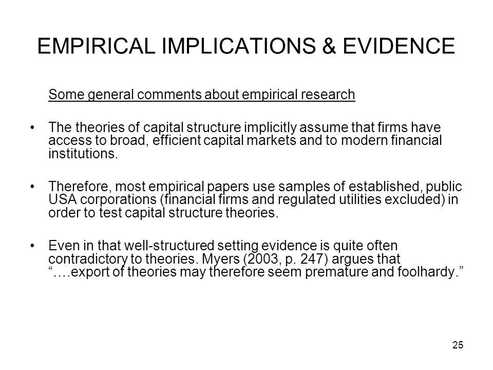 EMPIRICAL IMPLICATIONS & EVIDENCE