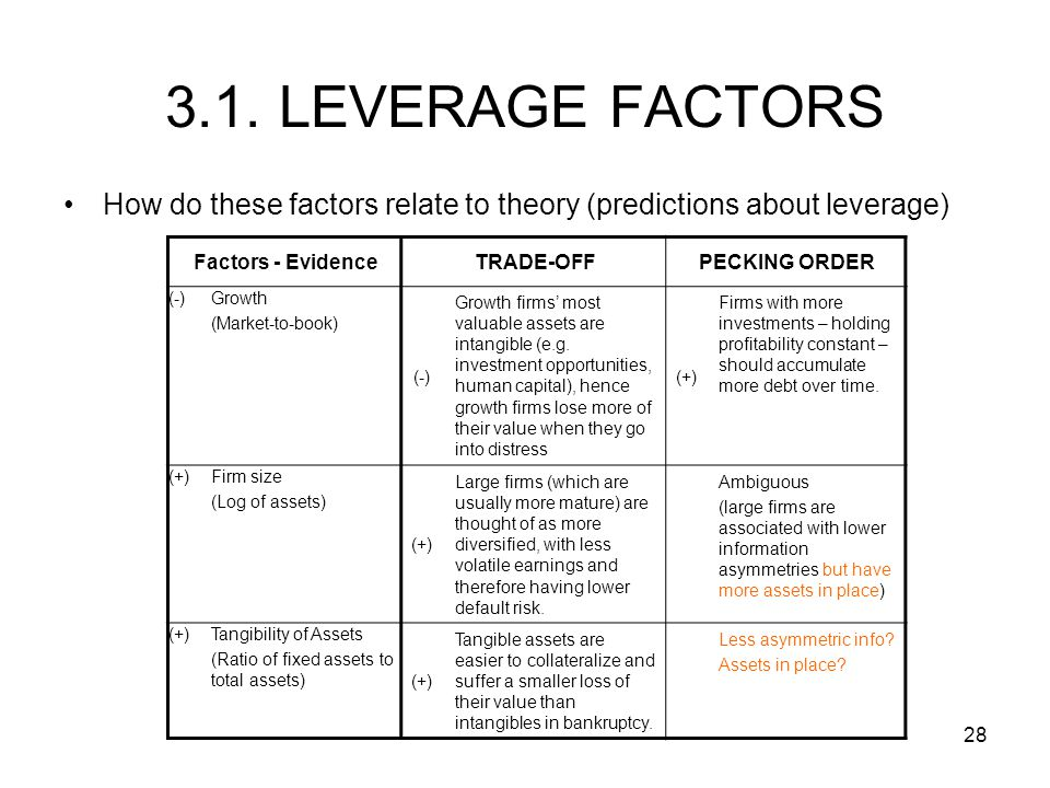 3.1. LEVERAGE FACTORS How do these factors relate to theory (predictions about leverage) Factors - Evidence.
