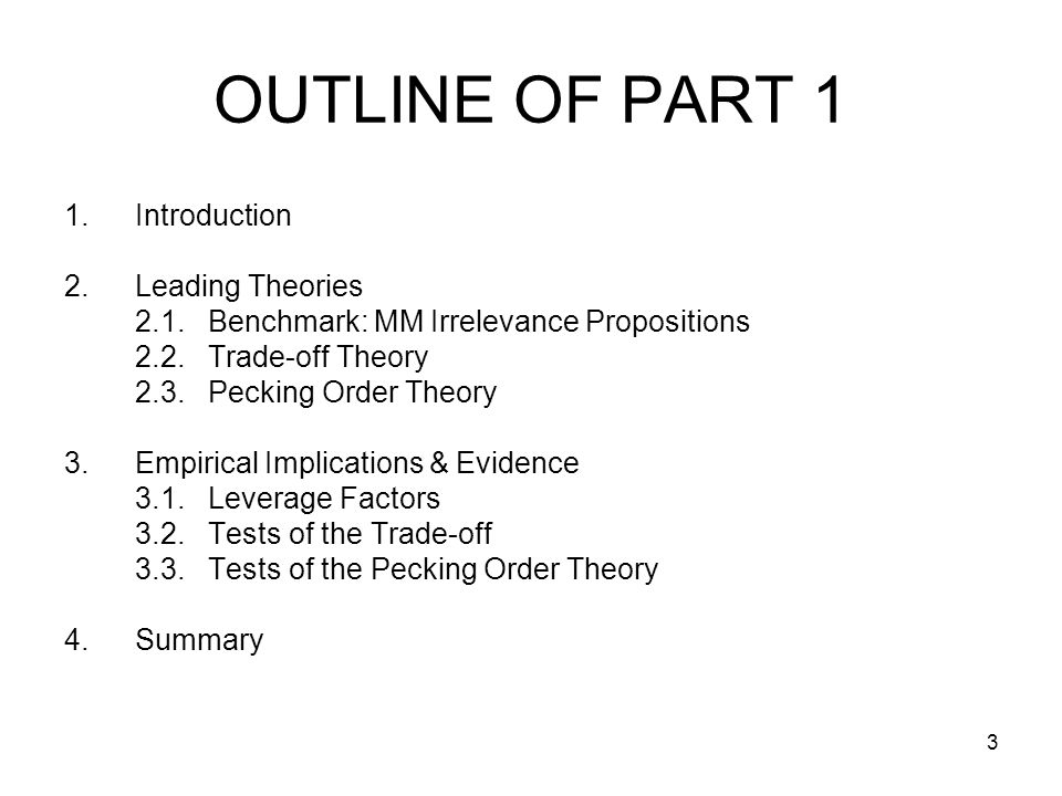 OUTLINE OF PART 1 Introduction Leading Theories