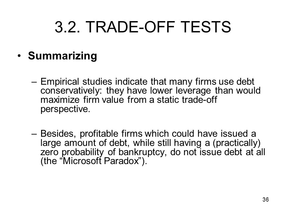 3.2. TRADE-OFF TESTS Summarizing