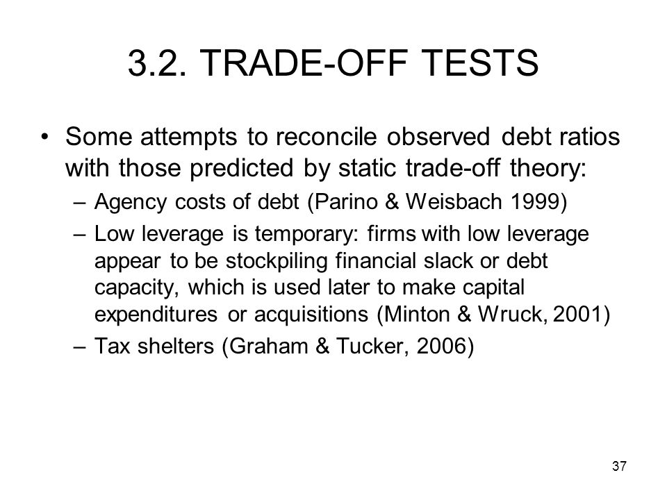 3.2. TRADE-OFF TESTS Some attempts to reconcile observed debt ratios with those predicted by static trade-off theory: