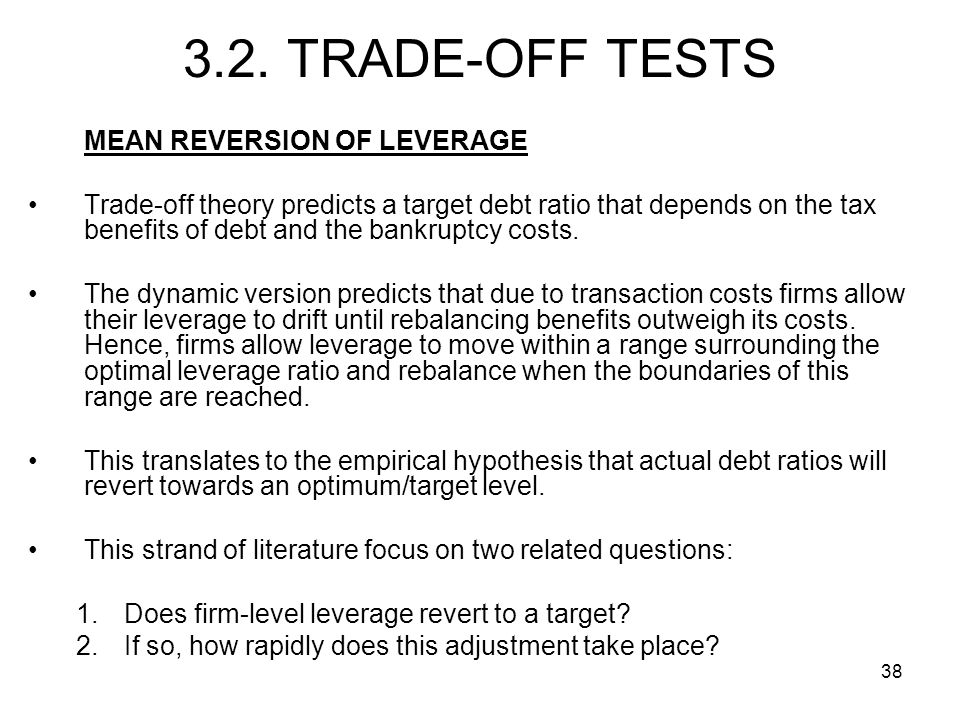 3.2. TRADE-OFF TESTS MEAN REVERSION OF LEVERAGE