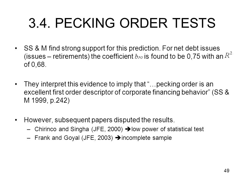 3.4. PECKING ORDER TESTS