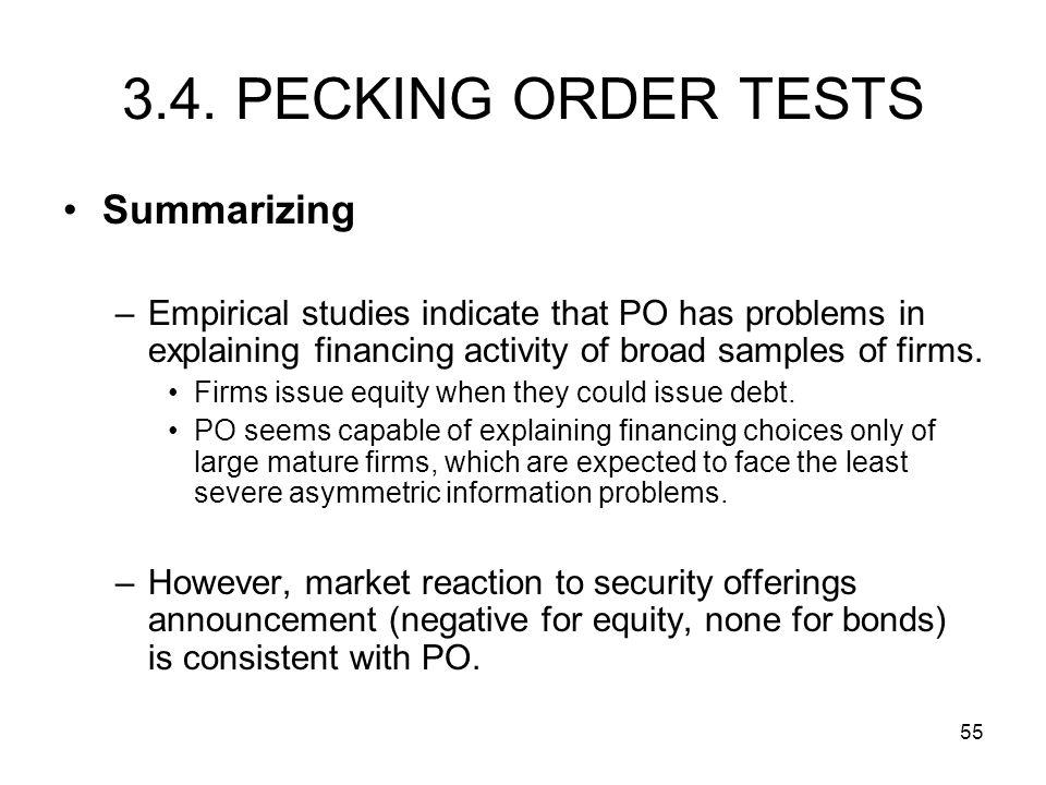 3.4. PECKING ORDER TESTS Summarizing