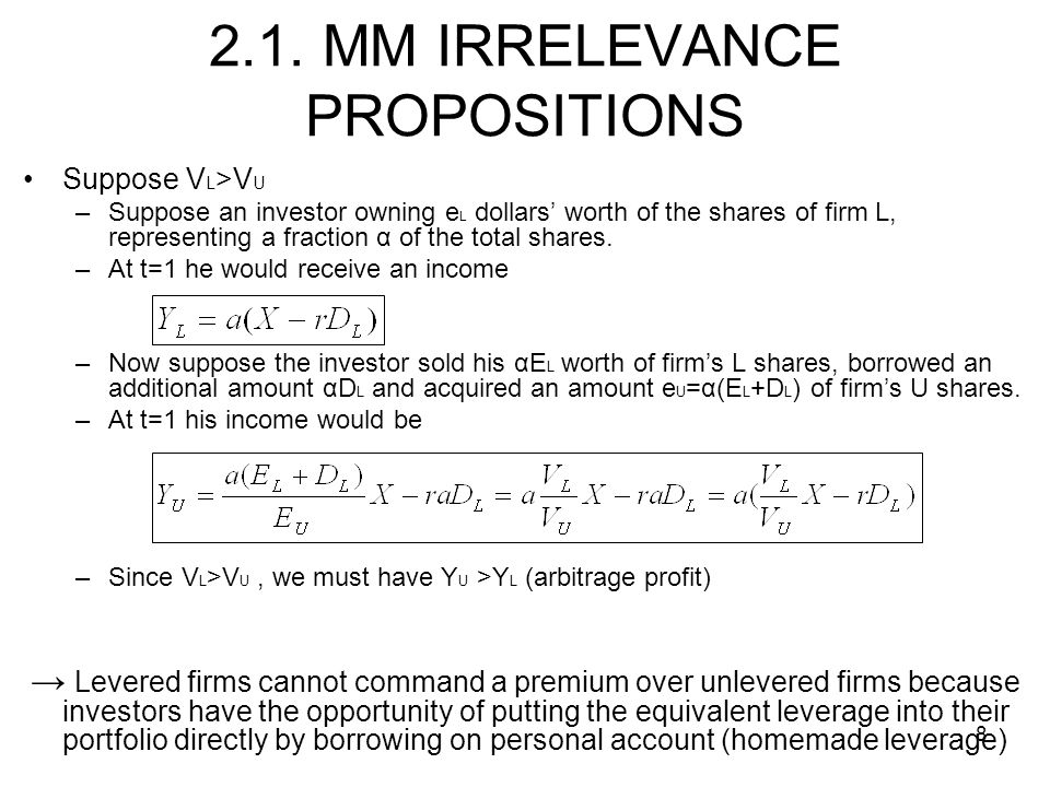 2.1. MM IRRELEVANCE PROPOSITIONS