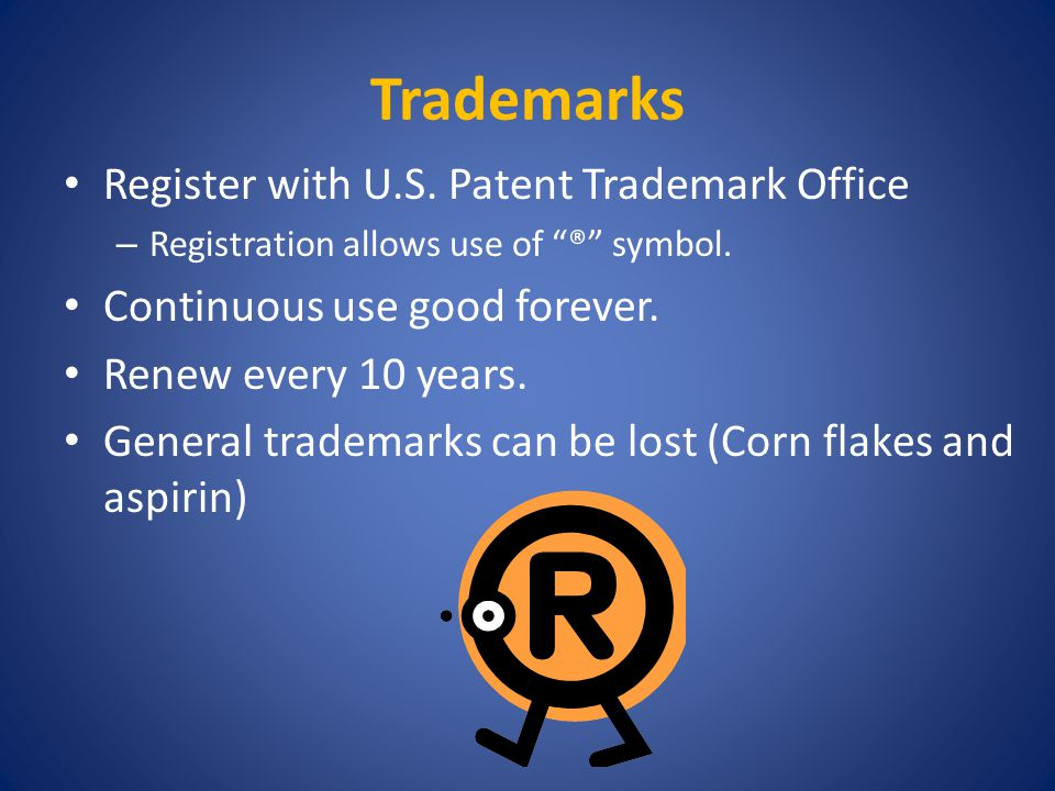 Trademarks Register with U.S. Patent Trademark Office