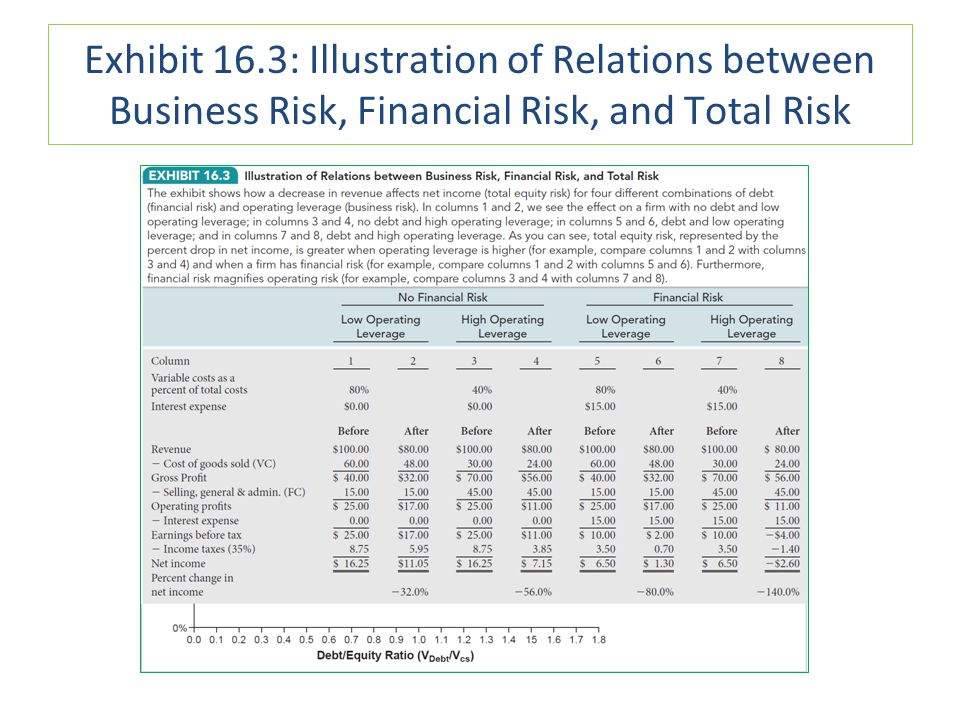 Exhibit 16.3: Illustration of Relations between Business Risk, Financial Risk, and Total Risk