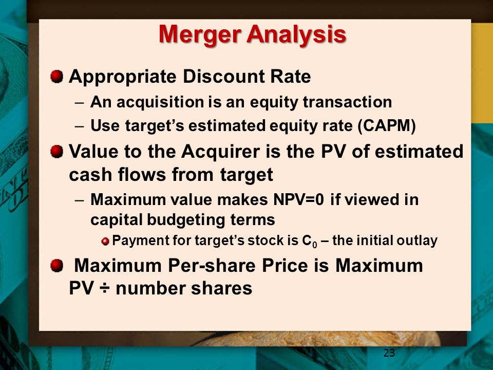 Merger Analysis Appropriate Discount Rate