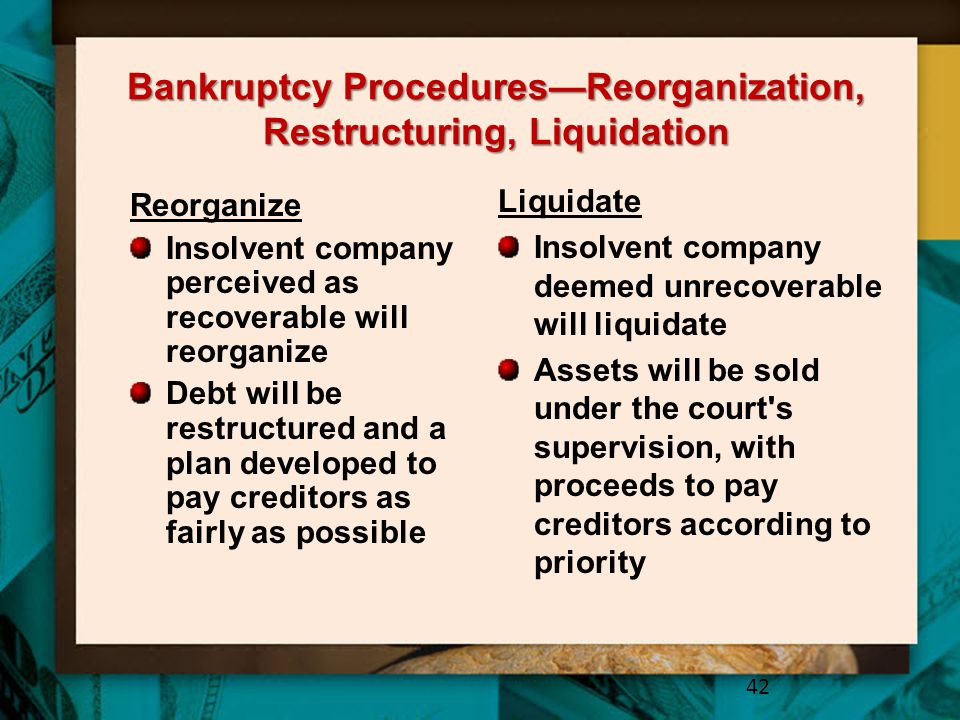 Bankruptcy Procedures—Reorganization, Restructuring, Liquidation