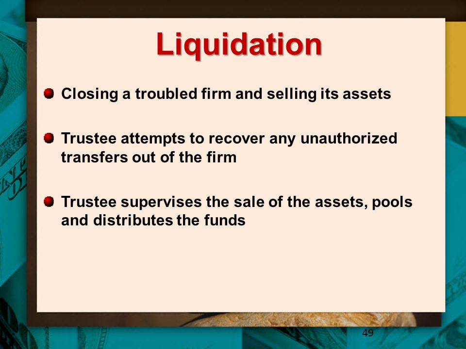 Liquidation Closing a troubled firm and selling its assets