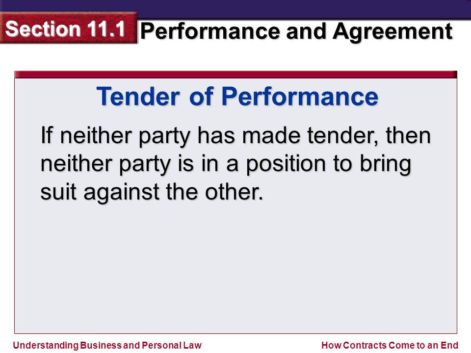 Tender of Performance If neither party has made tender, then neither party is in a position to bring suit against the other.